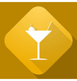icon of Martini Glass with a long shadow vector image vector image