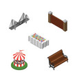 isometric city set of bridge barrier sitting and vector image vector image