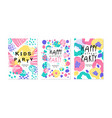 kids party card templates set happy birthday vector image