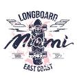 Longboard emblem retro print vector image vector image