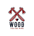 lumberjack logo emblem design wood you be mine vector image