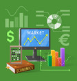 market and economics cartoon on green vector image