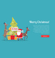marry christmas web banner presents with santa vector image vector image