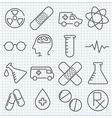 Medicine thin line icons set vector image