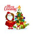 merry christmas santa gifts tree icon vector image