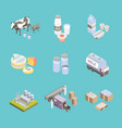 milk factory signs 3d icon set isometric view vector image