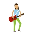 Musician cartoon characters with guitar isolated vector image vector image