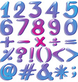 Numbers in violet shades vector image vector image