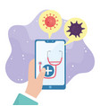 online health hand with smartphone stethoscope vector image vector image