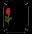 red rose on black background with golden frame vector image