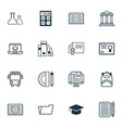 school icons set collection of document case vector image vector image