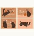 set christmas cards with cats graphics vector image