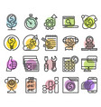 set of business line icons vector image vector image