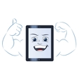 Smiling powerful tablet computer 2 vector image vector image
