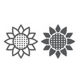 sunflower line and glyph icon nature and floral vector image vector image