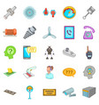 technical support icons set cartoon style vector image