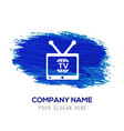 tv television icon - blue watercolor background vector image