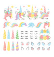 unicorn elements flat set vector image