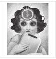 vintage young woman halftone portrait vector image
