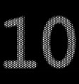 white halftone ten digits text icon vector image