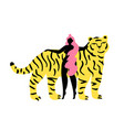 with young long hair woman and funny striped tiger vector image
