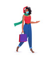 woman with purchases wearing mask to prevent vector image