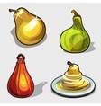 Yellow and green pear purse dessert four icon vector image vector image