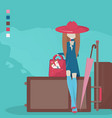 young girl with travel bag and ice cream vector image