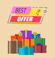 best offer rectangular label with presents poster vector image