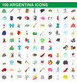100 argentina icons set cartoon style vector image