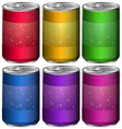 Aluminum cans in six different colors vector image