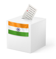 Ballot box with voicing paper India vector image vector image