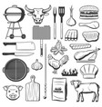 bbq meat icons picnic and barbecue party vector image vector image