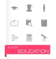 black education icon set vector image vector image