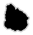 black silhouette of the country uruguay with the vector image
