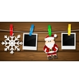 Blank photo frames Santa claus and snowflakes on a vector image vector image
