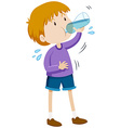 Boy drinking water from bottle vector image vector image
