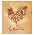 chicken cutting scheme craft vector image