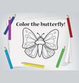 children butterfly coloring worksheet vector image vector image