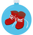 christmas cartoon red boots isolated on blue vector image vector image