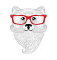 Cute bear portrait with french mustache beard vector image vector image