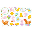 easter bunny chicks and spring flowers funny vector image vector image
