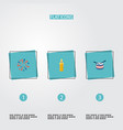 flat icons firecracker fire wax musical vector image