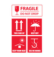 fragile sticker set vector image vector image