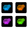 glowing neon printer and gear icon isolated on vector image vector image