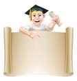graduate and scroll banner sign vector image
