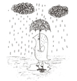 hand drawn rain umbrella vector image vector image