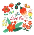 Happy valentines day floral card vector image vector image