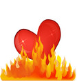 heart on fire flames icon vector image