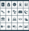 holiday icons set with palms moon islam book and vector image vector image